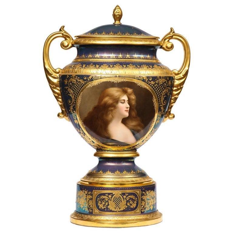 Monumental Royal Vienna Iridescent Porcelain Portrait