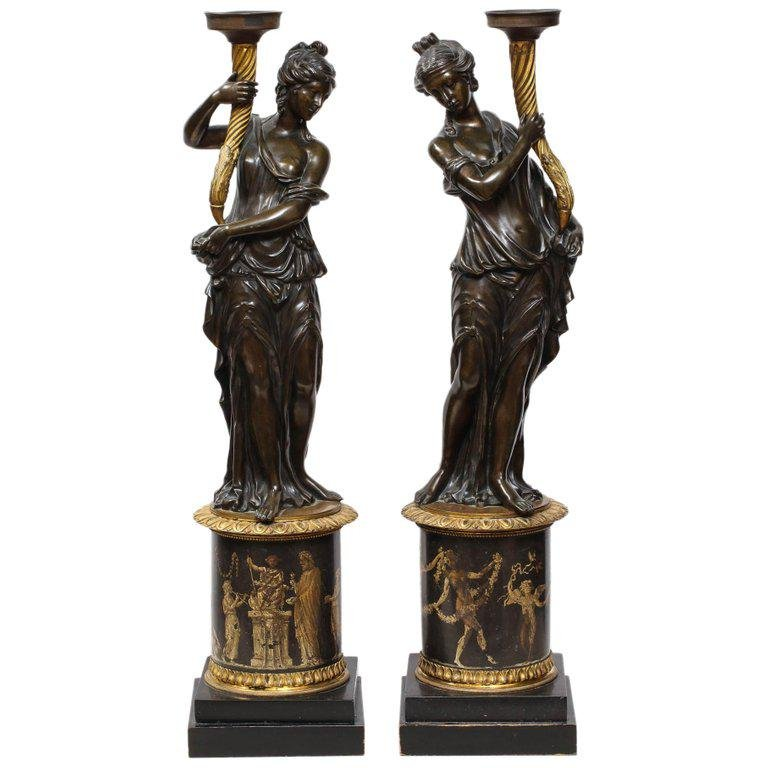 Large Pair of French Gilt and Patinated Bronze Figural