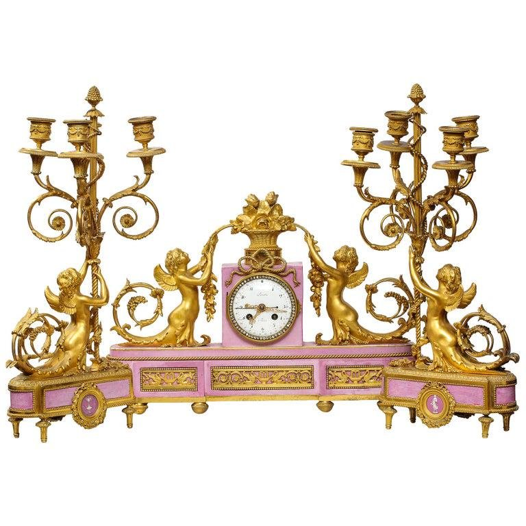 Exquisite French Ormolu and Pink Porcelain Clock Set
