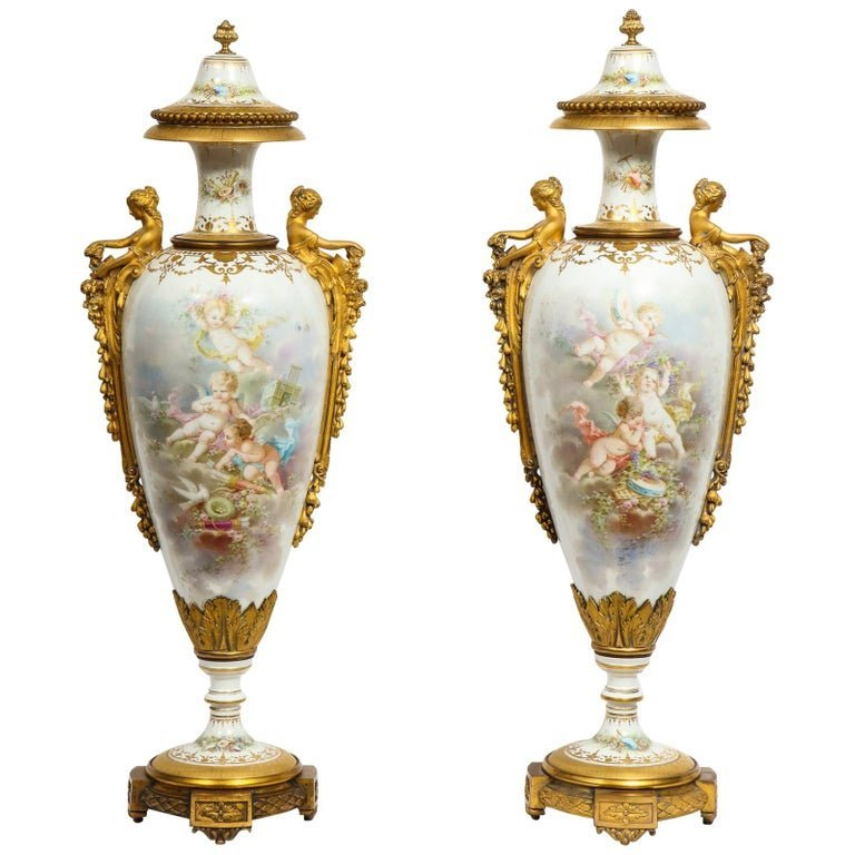 Monumental Pair of French Ormolu-Mounted Sevres