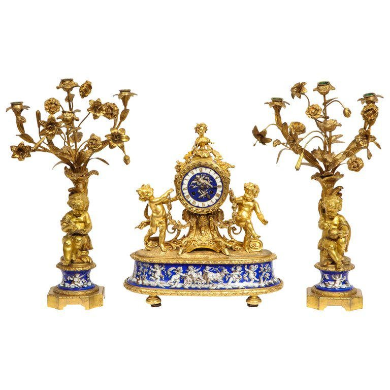 Exquisite French Ormolu Bronze and Blue Porcelain