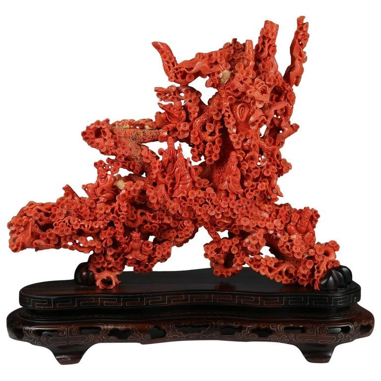 Exceptional Large Chinese Carved Coral Figural Group of