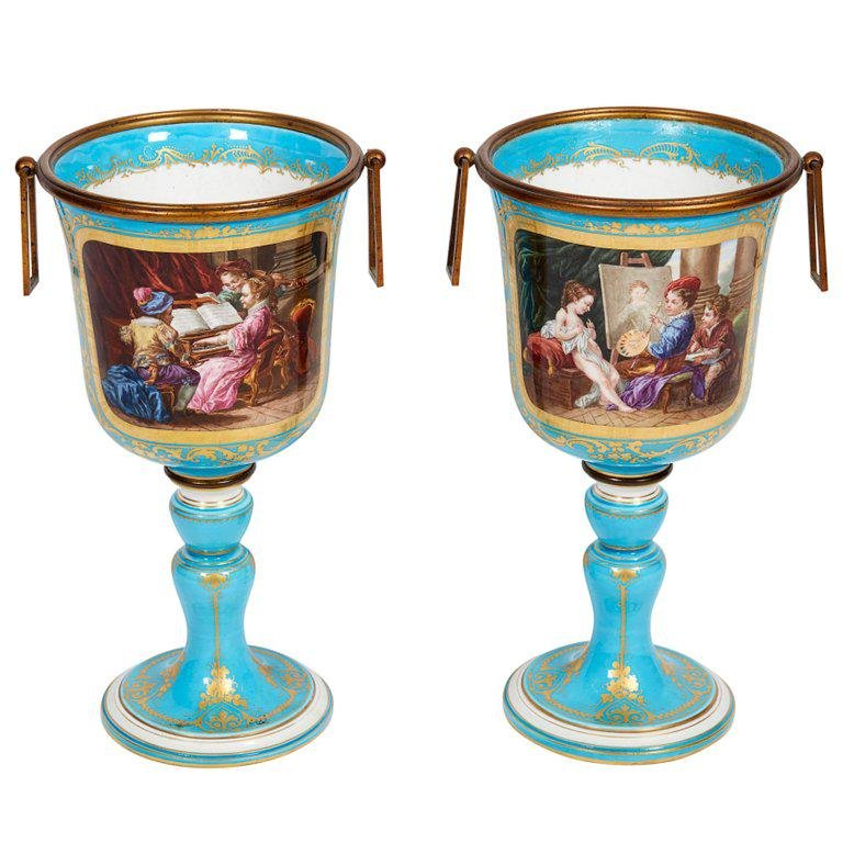 Pair of French Ormolu-Mounted Turquoise Sevres