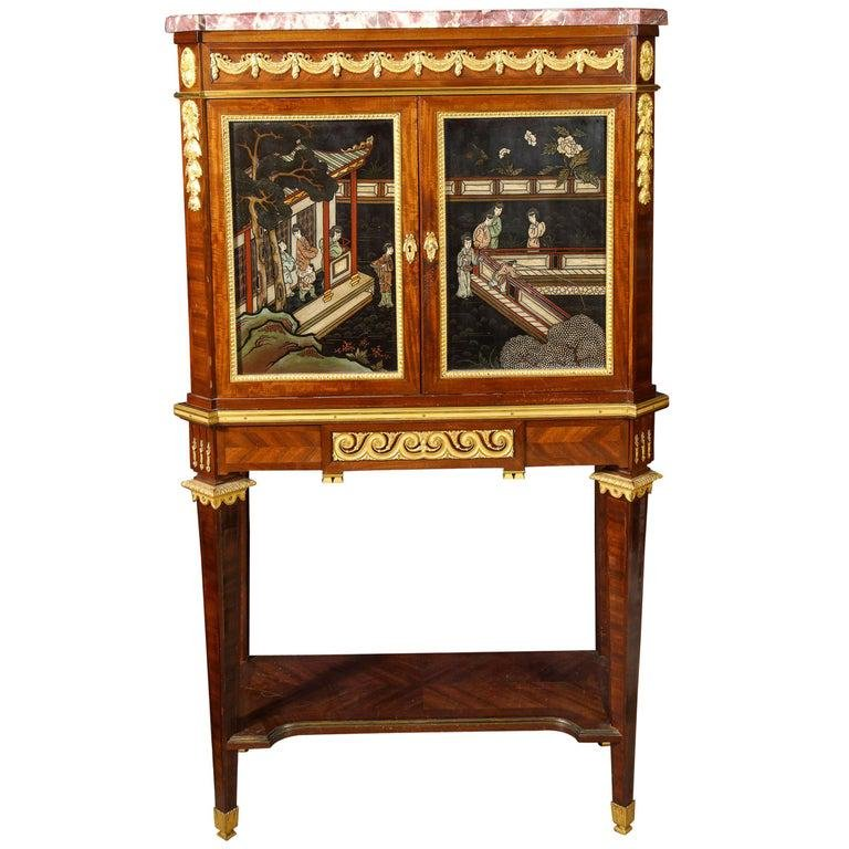 French Ormolu-Mounted Mahogany and Coromandel Lacquer