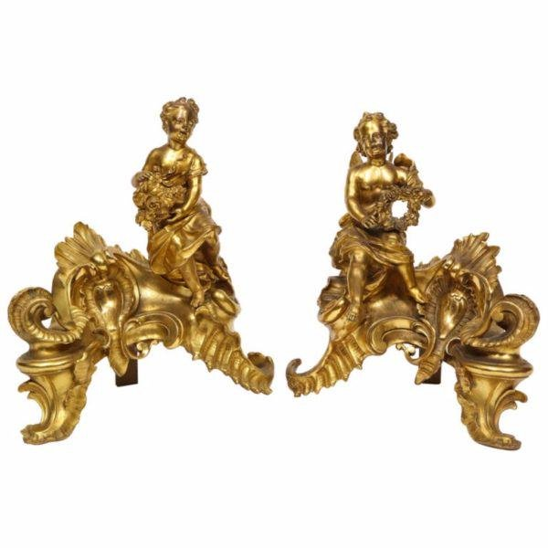 Pair of French Louis XV Style Gilt Bronze Ormolu