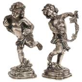 Mario Buccellati, a Pair of Sterling Silver Figures of