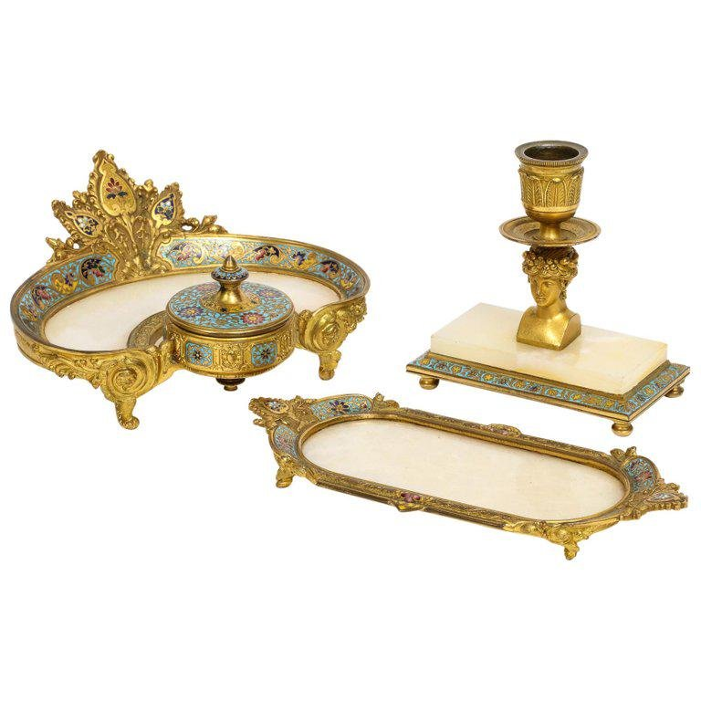 French Ormolu Bronze, Onyx, and Champleve Cloisonne