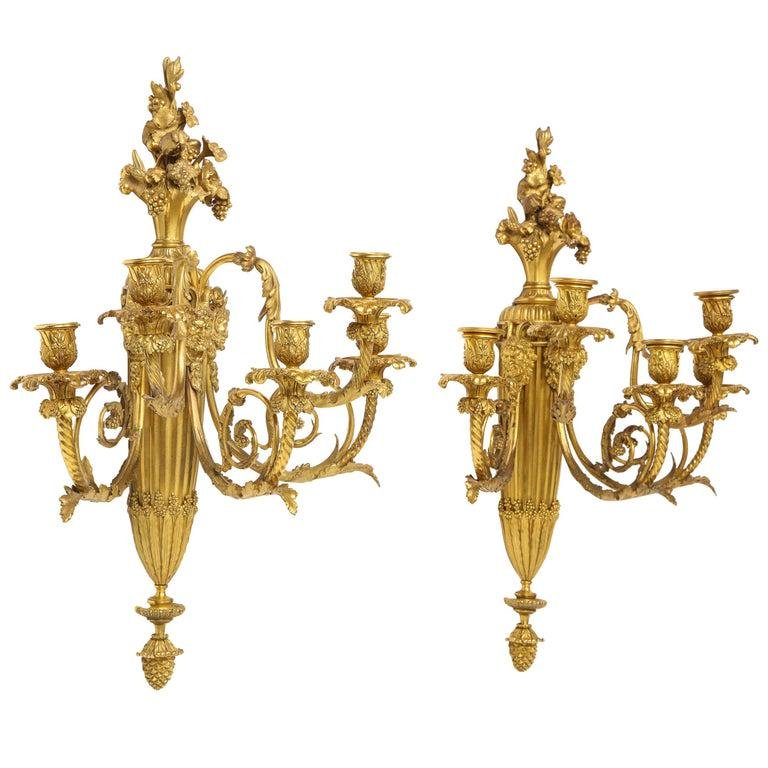 Very Fine Pair of Louis XVI Style French Ormolu Bronze