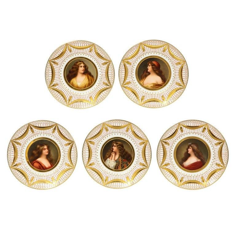 Exceptional Set of Five Royal Vienna Jeweled Porcelain