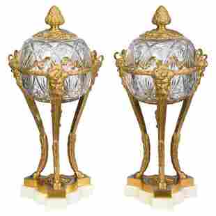 Pair of French Louis XVI Style Bronze and Cut Crystal