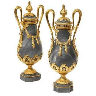 Pair of French Ormolu Mounted Bleu Turquin Marble Brule