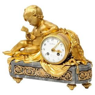 French OrmoluMounted Bleu Turquin Marble Figural Clock