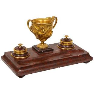 Large Rouge Marble and Gilt Bronze Inkwell Encrier