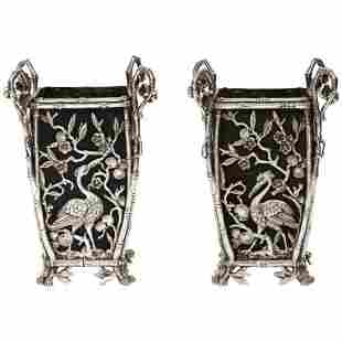 Pair of Unusual French Japonisme Silvered Bronze