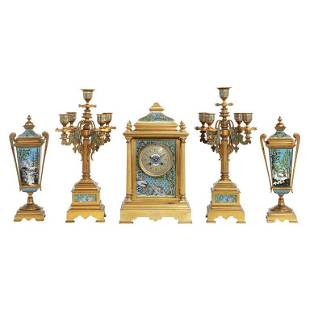 French Bronze and Champleve Cloisonne Enamel FivePiece