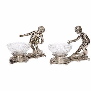 Pair of French Silvered Bronze and Glass Centerpieces