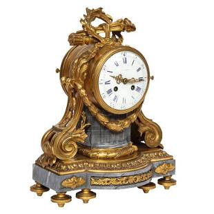A French OrmoluMounted Bleu Turquin Marble Clock Japy