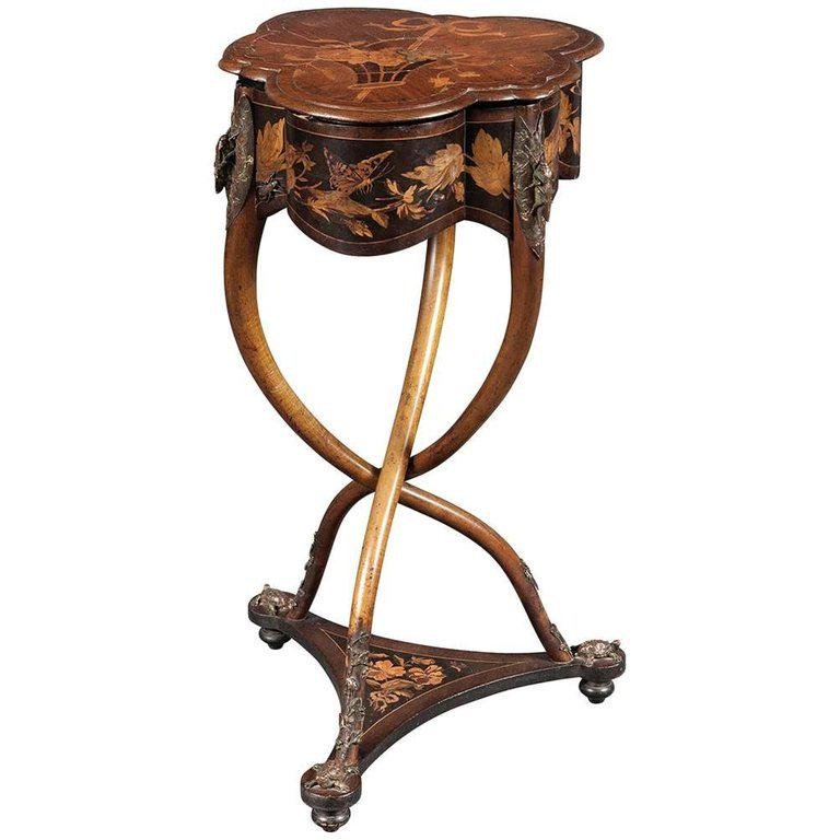 Rare French Art Nouveau Marquetry Table by Charles