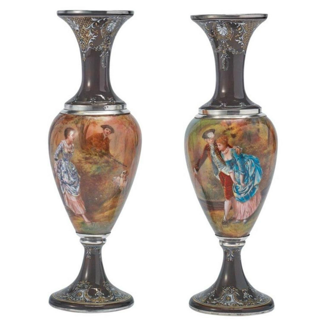 Pair of French Silver & Limoges Enamel Vases, Retailed