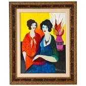"""Itzchak Tarkay (Israel, 1935-2012) """"Two Sisters"""" Oil on"""