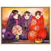 "Nasser Ovissi, 'Iranian, Born 1934' ""Three Seated"
