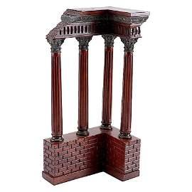 Antique Italian Grand Tour Mahogany Wood & Bronze Roman