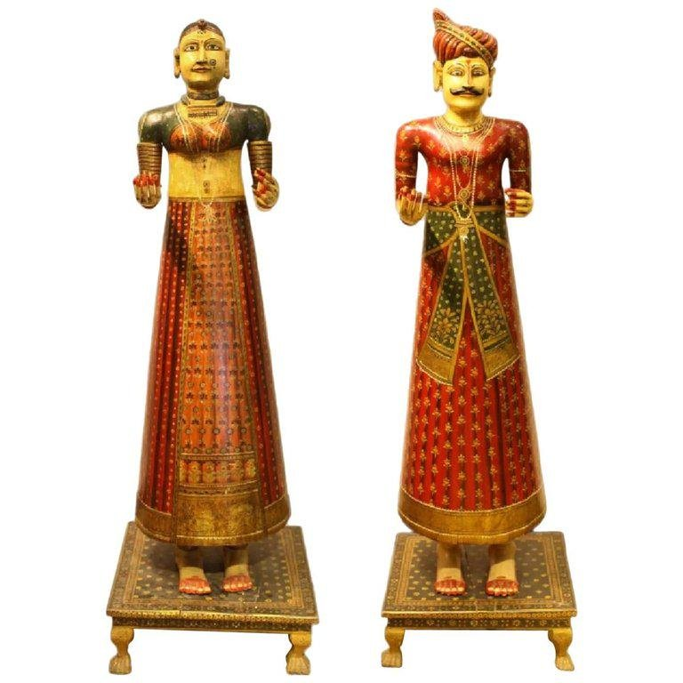 Lifesize Pair of Antique Hand-Painted Indian Figures