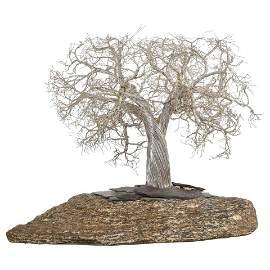 Modern Italian Silver Realistic Bonsai Tree Mounted on