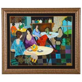 "Itzchak Tarkay (Israel, 1935-2012) ""Afternoon Tea"" Oil"