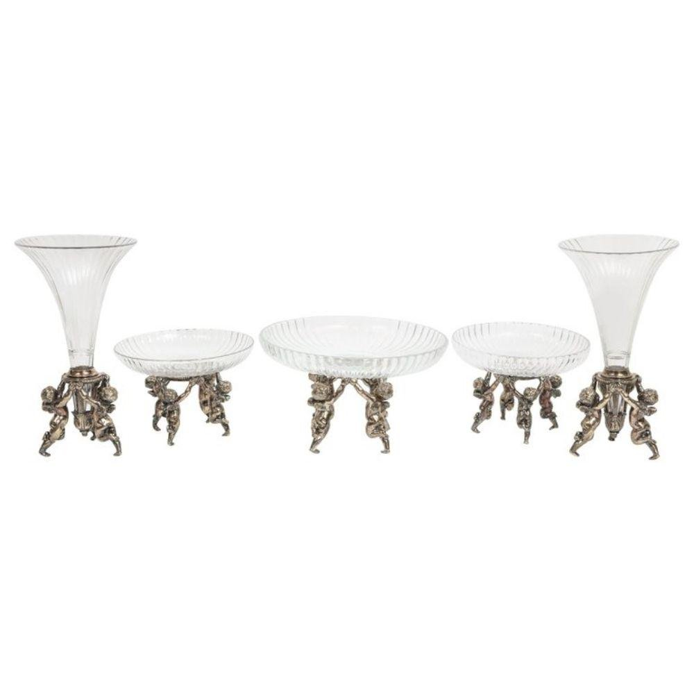 Silvered Bronze and Cut Glass Five-Piece Table