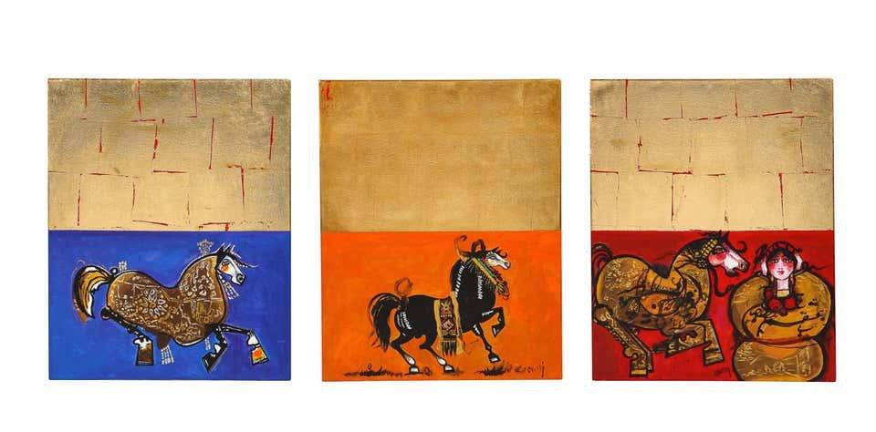 "Nasser Ovissi, 'Iranian, Born 1934' ""Arabian Horses"