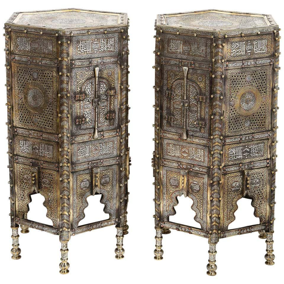 Exceptional Pair of Islamic Mamluk Revival Silver