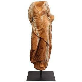 A Life-Size Roman Style Patinated Fiberglass Torso,