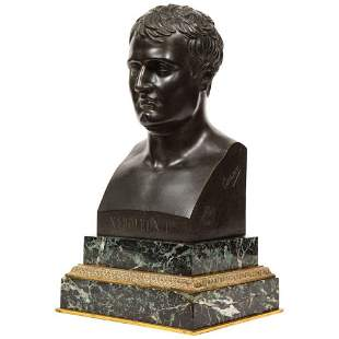 Exquisite French Patinated Bronze Bust of Emperor