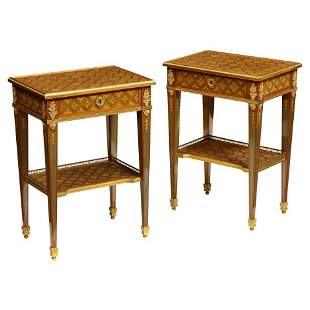 Exceptional Pair of French Ormolu-Mounted Parquetry and