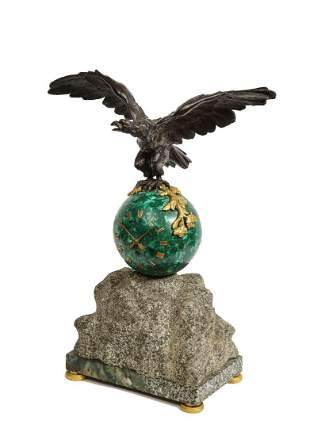 Patriotic French Patinated Bronze Eagle and Malachite