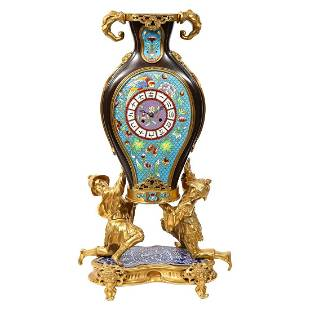 A French Japonisme Ormolu, Patinated Bronze, and