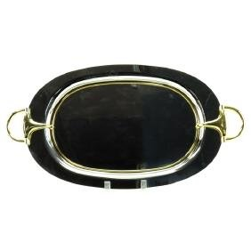 Vintage Gucci Italy Silver Plate and Brass Mounted Oval