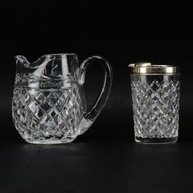 """Two Cut Crystal Pitchers. A Waterford """"Glandore"""" Ice"""