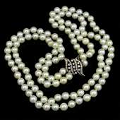 Vintage Double Strand White Pearl Necklace with 14