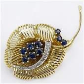 Vintage 14 Karat Yellow Gold Leaf Brooch with Round Cut