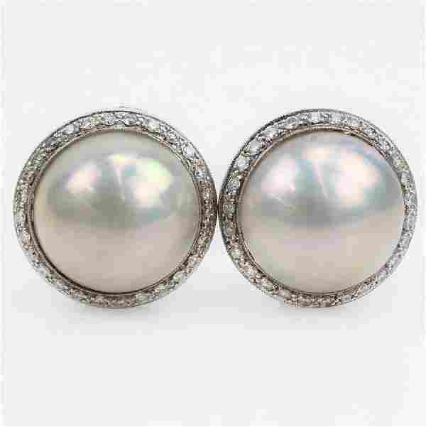 Vintage 18 Karat White Gold, Mabe Pearl and Round
