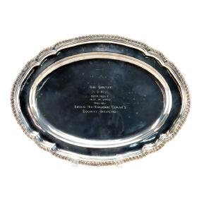 English Silver Plate Serving Tray. Presentation