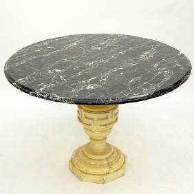 Mid Century Neoclassical Style Marble Pedestal Table.