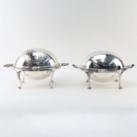 Two Sheffield Silver Plate Domed Roll Top Servers.