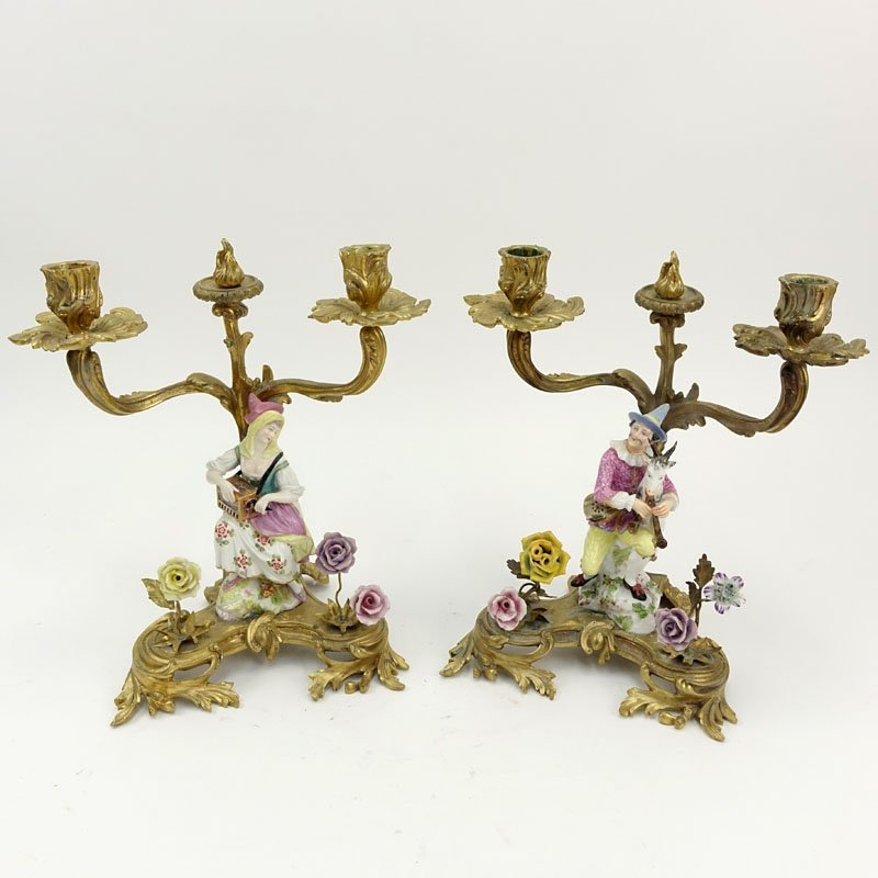 Pair 19/20th Century Gilt Bronze and Meissen Porcelain