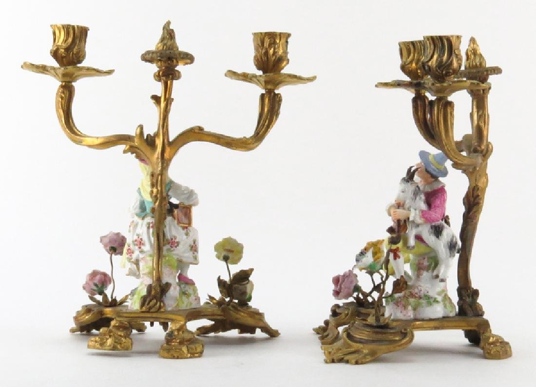 Pair 19/20th Century Gilt Bronze and Meissen Porcelain - 2