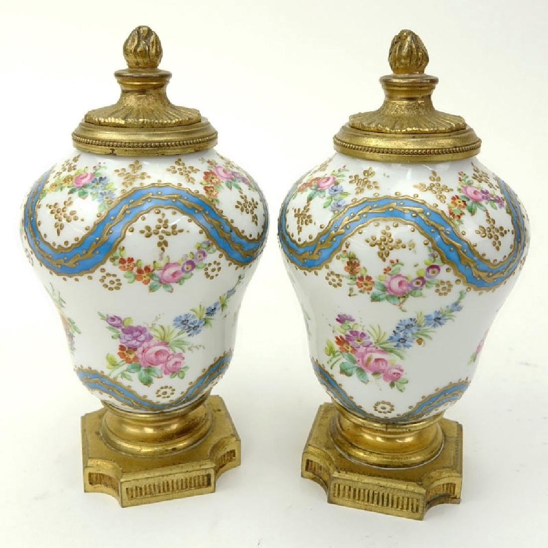 Pair 19th Century French Sevres Bronze Mounted Enamel