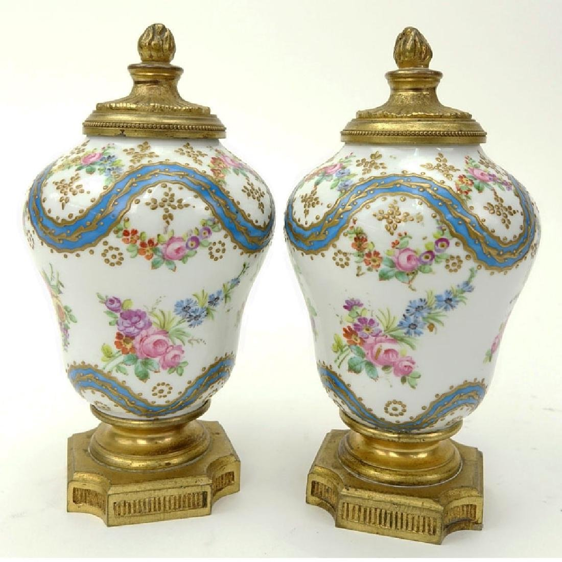 Pair 19th Century French Sevres Bronze Mounted Enamel - 2