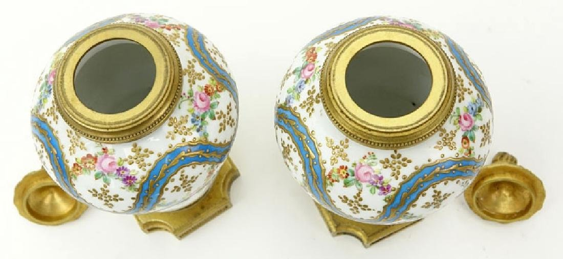 Pair 19th Century French Sevres Bronze Mounted Enamel - 4